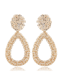 Sweet Gold Color Full Dianond Design Pure Color Earrings