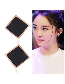 Fashion Black Square Shape Decorated Earrings