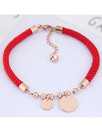 Fashion Red Round Shape Pendant Decorated Bracelet