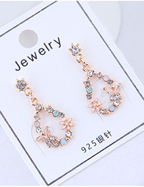 Fashion Gold Color Flower Shape Decoraed Earrings