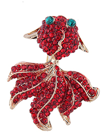 Fashion Red Diamond Goldfish Female Brooch
