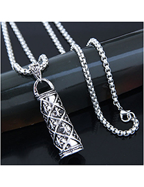 Fashion Silver Metal Love Longevity Column Long Necklace