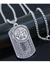 Fashion Silver Metal Shield Long Necklace