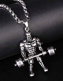 Fashion Silver Metal Weightlifter Long Necklace