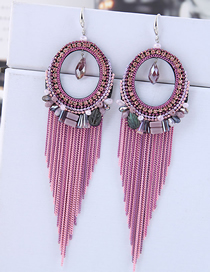 Fashion Pink Fringed Crystal Earrings