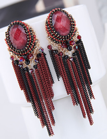 Fashion Red Crystal Tassel Earrings
