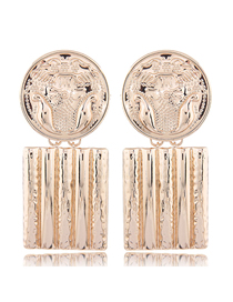 Fashion Gold Metal Flower Carving Badge Square Earrings