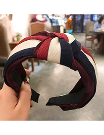 Fashion Red Wine Contrast Stitching Knotted Wide-brimmed Headband
