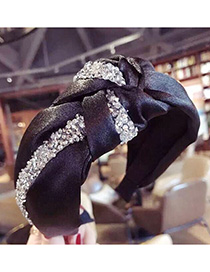 Fashion White Diamond Cloth-encrusted Bow With Wide-brimmed Headband