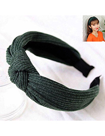 Fashion Dark Green Knitted Cross Knotted Headband
