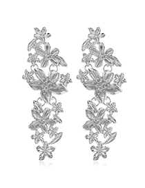 Fashion Silver Metal Flower Earrings