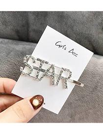 Fashion Silver Letter Flash Diamond Letter Hairpin