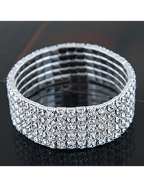Fashion Silver (five Rows) Metal Diamond Bracelet