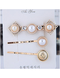 Fashion Gold Metal Three-piece Hair Clip