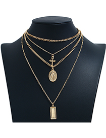 Fashion Gold Metal Cross Multilayer Necklace