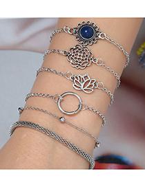 Fashion Gold Rose Sun Flower Chain Accessories Six-piece Bracelet