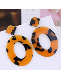 Fashion Brown Geometric Oval Leopard Earrings