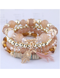 Fashion Pink Crystal Bead Palm Feather Multilayer Bracelet