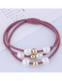Fashion Leather Powder Pearl Hair Ring