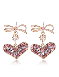 Fashion Pink Bow Love Earrings