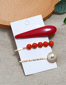 Fashion Red Three-piece Hair Clip