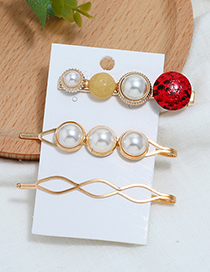 Fashion Red Pearl Three-piece Hair Clip