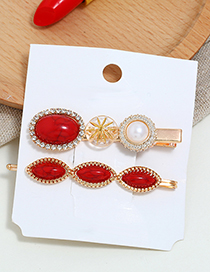 Fashion Red Two-piece Hair Clip Side