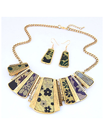 Fashion Yellow Metal Leopard Geometric Necklace Earring Set
