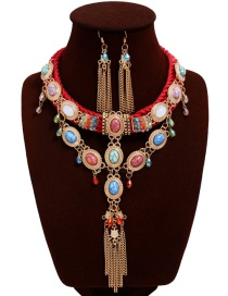 Fashion Multi-color Oval Shape Decorated Tassel Jewelry Sets