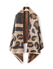 Fashion Khaki Leopard Pattern Decorated Scarf
