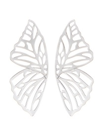 Fashion Silver Color Hollow Out Deisgn Butterfly Shape Earrings