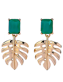 Fashion Gold Color+green Leaf Shape Decorated Earrings