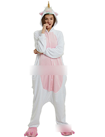 Fashion Pink+white Unicorn Shape Decorated Jumpsuit(for Adult)