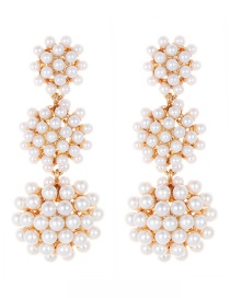 Fashion White Full Pearl Decorated Earrings