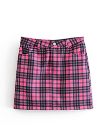 Fashion Plum Red Grids Pattern Decorated Skirt