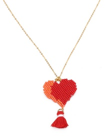 Fashion Red Heart Shape Decorated Tassel Necklace