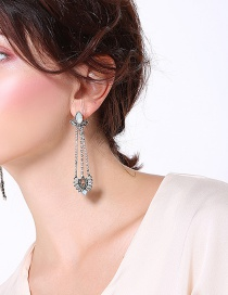 Fashion Silver Color Geometric Shape Decorated Tassel Earrings