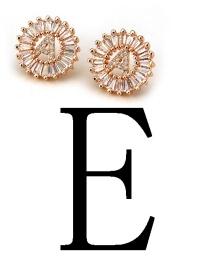 Fashion Rose Gold Letter E Shape Decorated Earrings