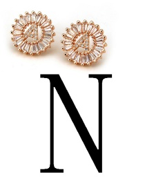 Fashion Rose Gold Letter N Shape Decorated Earrings