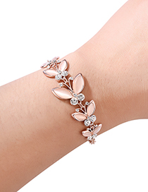 Fashion Rose Gold Butterfly Shape Decorated Bracelet