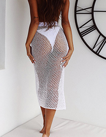 Sexy White Hollow Out Deisgn Pure Color Dress