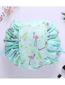 Fashion Green Flamingo Pattern Decorated Cosmetic Bag