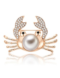 Fashion Gold Color Crab Shape Decorated Brooch