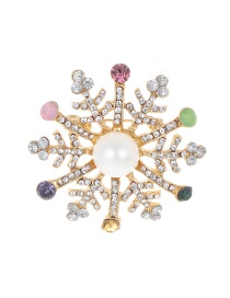 Fashion Multi-color Snowflake Shape Decorated Brooch