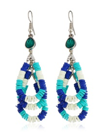 Fashion Blue Waterdrop Shape Decorated Earrings