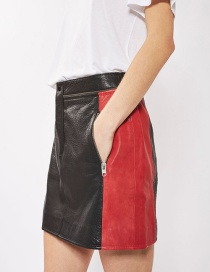 Fashion Black+red Zipper Decorated Skirt