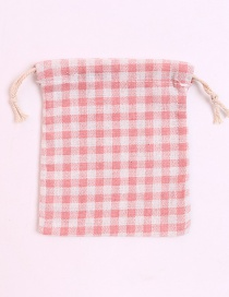 Fashion Pink Grid Pattern Decorated Storage Bag