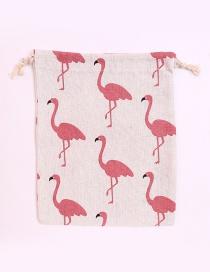 Fashion White+pink Flamingo Pattern Decorated Storage Bag