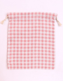 Fashion White+pink Grid Pattern Decorated Storage Bag