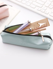 Simple Green Pure Color Decorated Pencil Bag